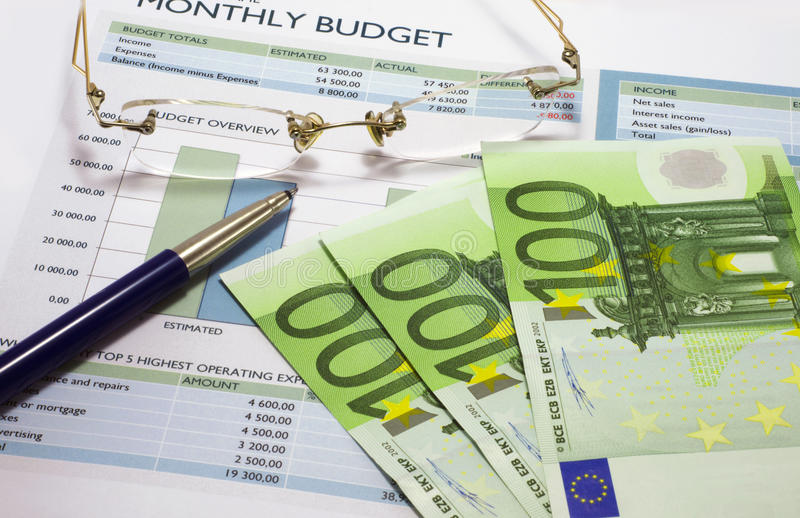 Monthly budget 3 stock photo