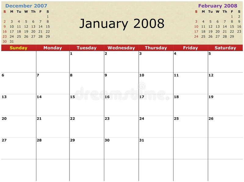Monthly Calendar Royalty Free Stock Images