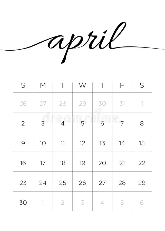 Monthly Calendar April 2017 stock image