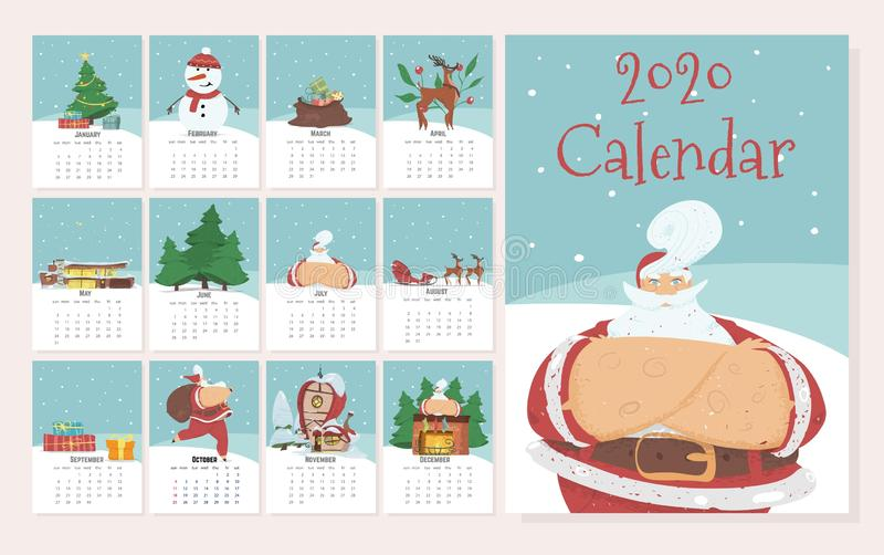 Monthly Calendar 2020 in Cute Hand Drawn Style. Monthly Creative Calendar 2020 in Cute Hand Drawn Style with Christmas and New Year Traditional Attributes and vector illustration