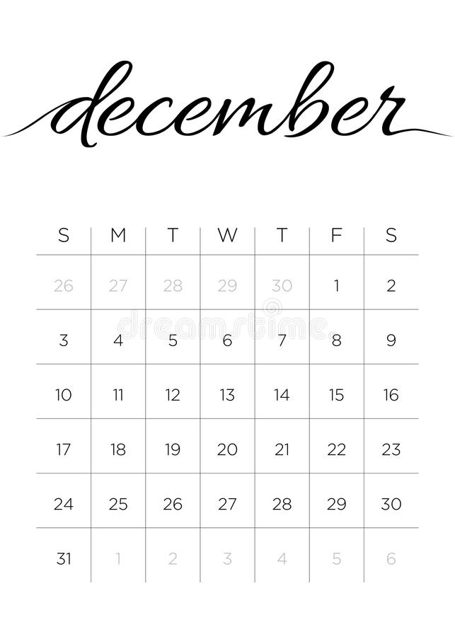 Download Monthly Calendar December 2017 Stock Vector - Illustration of monday, outline: 94106510