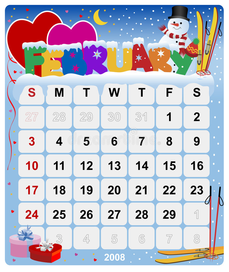 Monthly Calendar - February Royalty Free Stock Photography