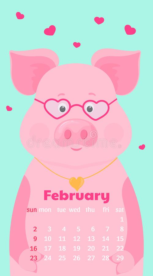 Monthly Calendar for February 2020. Week start on Sunday. Funny pig in love with glasses vector illustration