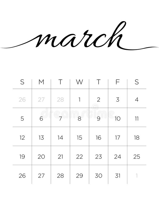 Download Monthly Calendar March 2017 Stock Vector - Illustration of date, number: 94106525