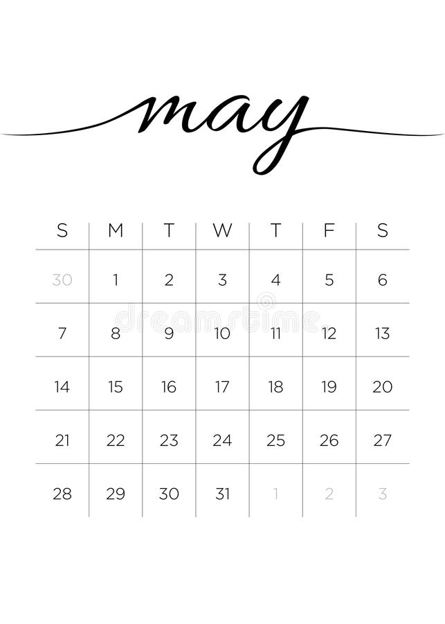 Monthly Calendar May 2017 stock photography