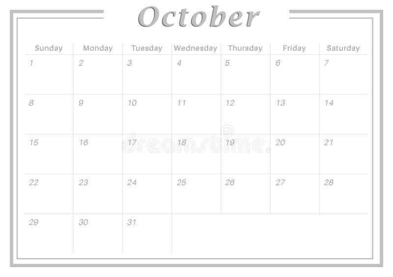 October Calendar Illustration : Monthly calendar october stock illustration image