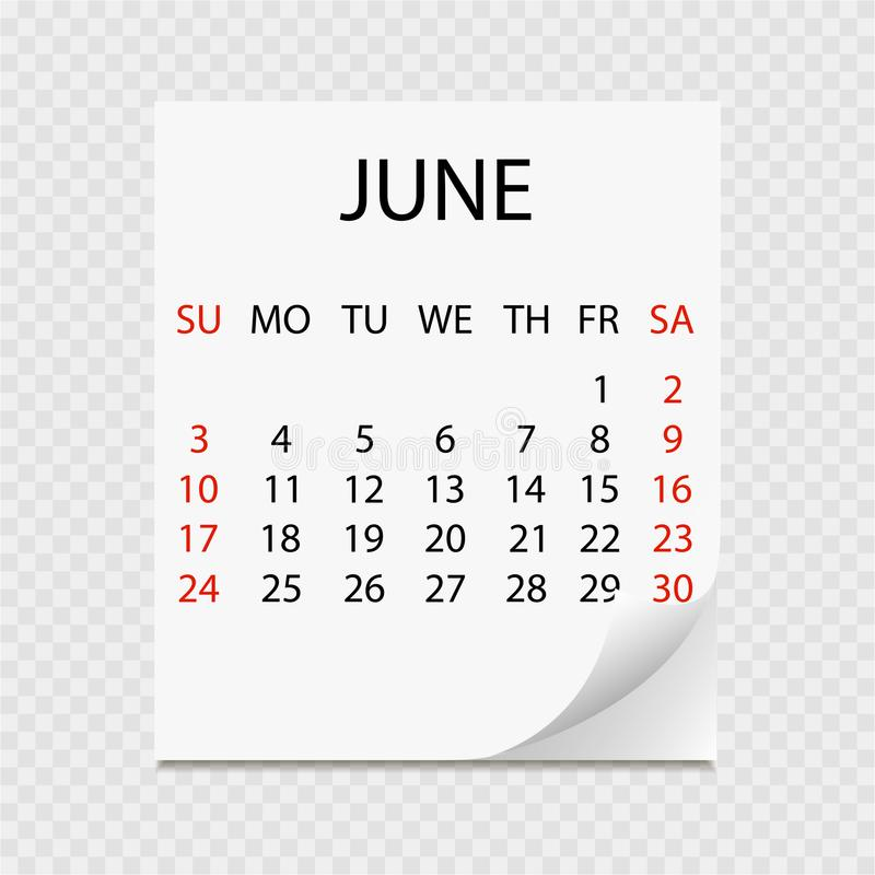 Monthly calendar 2018 with page curl. Tear-off calendar for June. White background. Vector illustration stock illustration