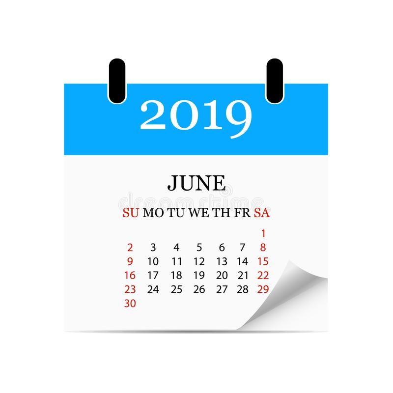 Monthly calendar 2019 with page curl. Tear-off calendar for June. White background. Vector illustration. Monthly calendar 2019 with page curl. Tear-off calendar stock illustration