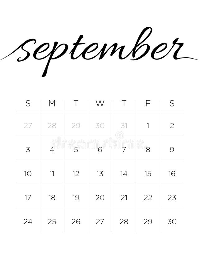 Monthly Calendar September 2017 royalty free stock photography