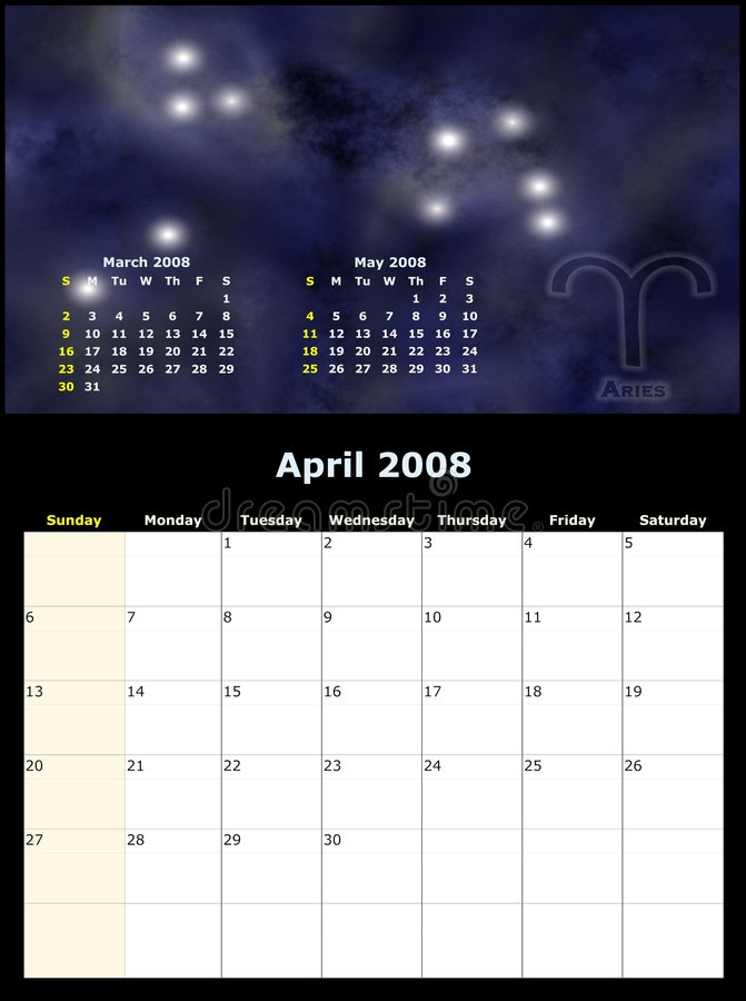 Download Monthly Calendar With Zodiac Stock Illustration - Image: 3101436