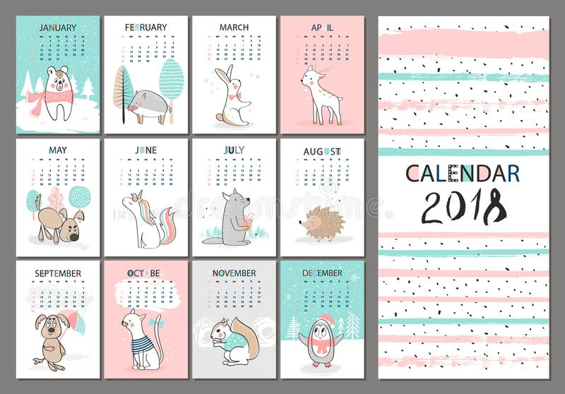 2018 vertical monthly calendar