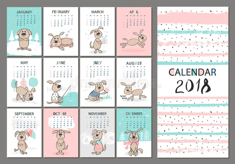 Monthly Creative Calendar 2018 With Cute Dogs Concept Vertical