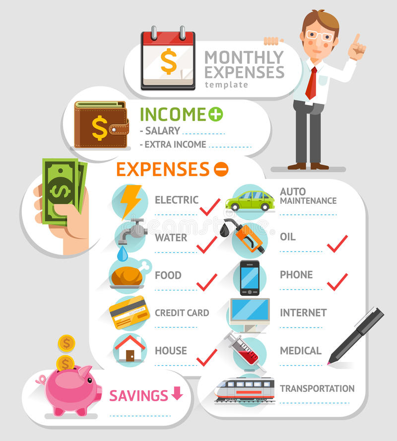 Monthly expenses template. Vector illustration. Can be used for workflow layout, banner, diagram, number options, web design, infographics, timeline stock illustration