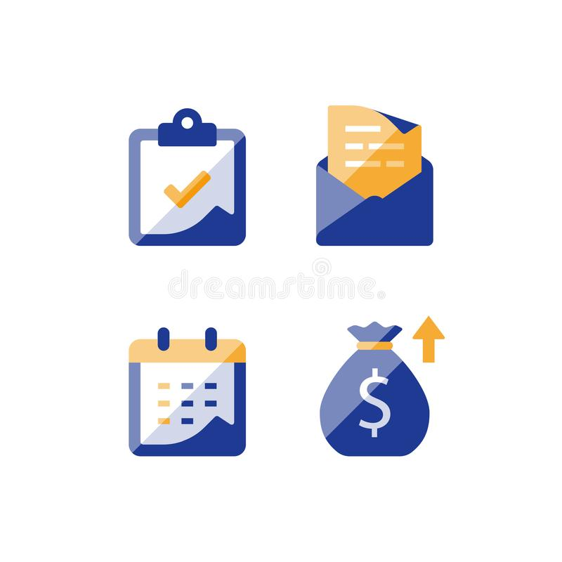 Monthly loan payment installment, financial calendar, annual revenue, long term value investment and return, time period royalty free illustration