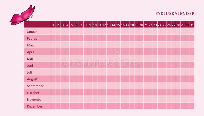 Monthly menstruation calendar of menstrual cycle with pink butterfly stock illustration