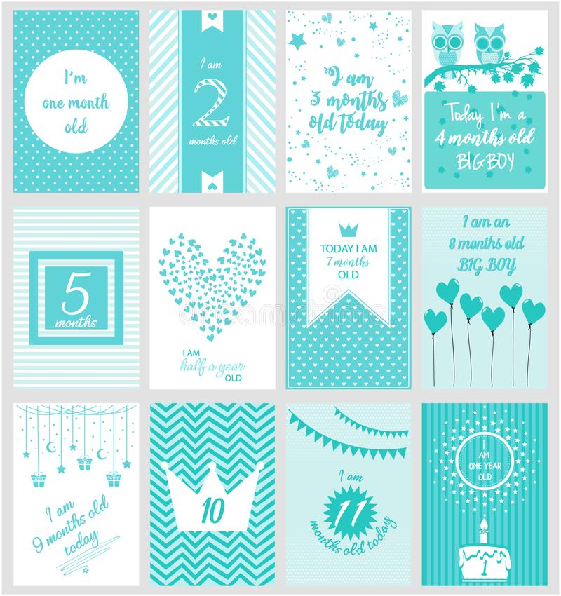 Monthly Milestone baby card royalty free illustration