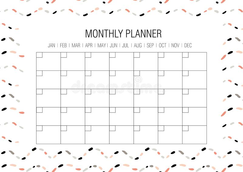 Monthly Planner Template Design With Grunge Element Notes