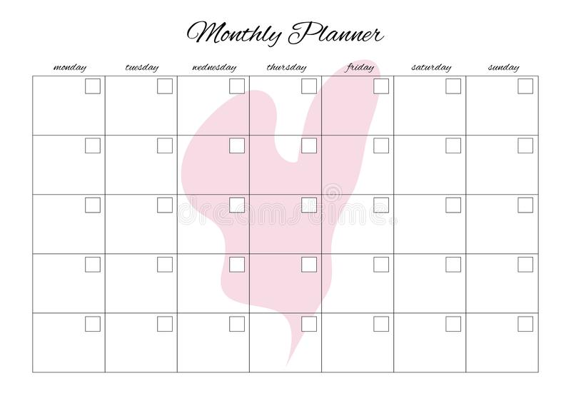 Monthly planner universal for any month with clean empty places. You can enter your numbers. With heart. Background vector illustration
