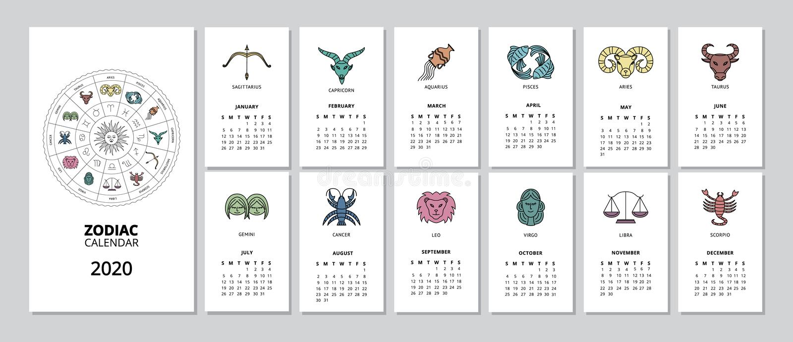 2020 monthly Zodiac calendar with star sign page for every month stock photo