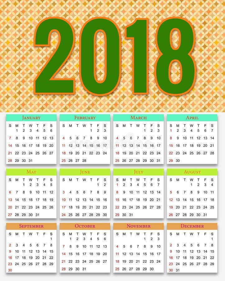 2020 Australian Icons Calendar For Australiana Souvenirs: 12 Months Calendar Design 2019-2020 Stock Vector