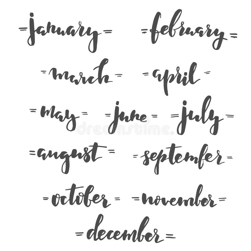 Months Hand Lettering Stock Vector Illustration Of Font