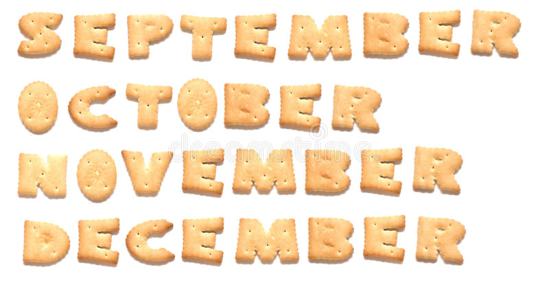 Months of year are made of cookies. Months of year September, October, November, December are made of cookies royalty free stock photo