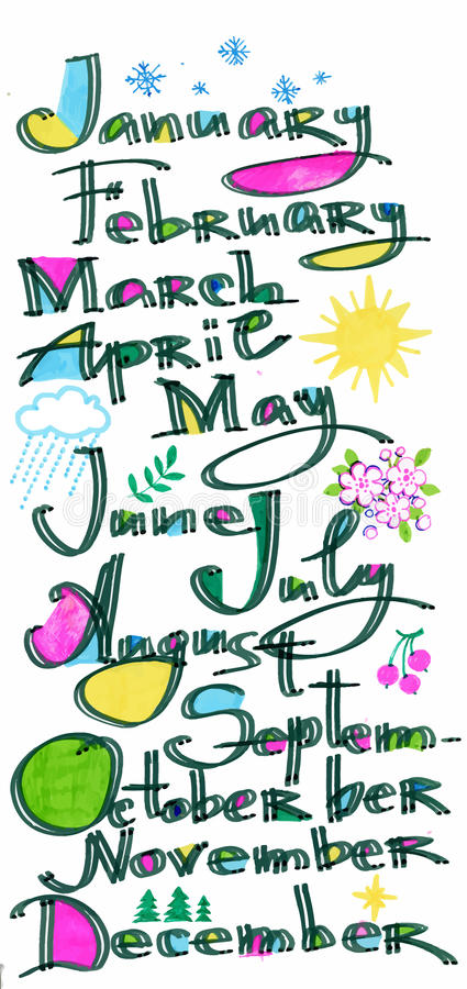 The months of the year pattern, colored hand drawn letters with pixel art model over white, calendar cover. stock illustration