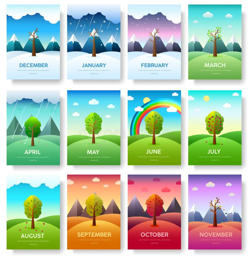 12 Months of the Year. Weather year information set. Seasons banners. Infographic concept background. Layout. Illustrations template pages with typography vector illustration