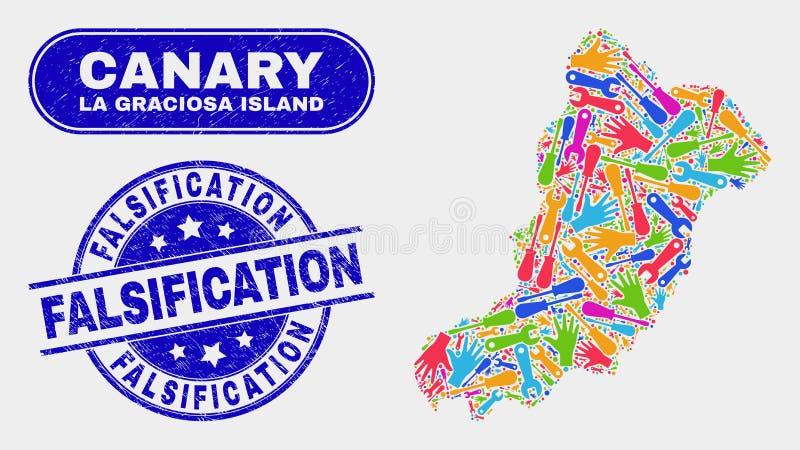 Monti la mappa dell'isola di Graciosa della La ed affligga i bolli di falsificazione illustrazione di stock