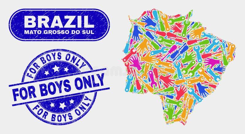 Monti la mappa ed il lerciume di Mato Grosso Do Sul State per le filigrane dei ragazzi soltanto royalty illustrazione gratis