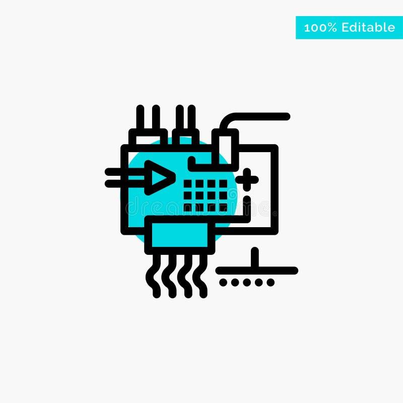 Monti, personalizzi, elettronica, l'ingegneria, icona di vettore del punto del cerchio di punto culminante del turchese delle par illustrazione di stock