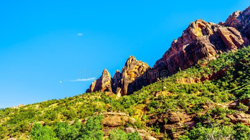 Monti robuste con arenaria nel Parco Nazionale di Zion nello Utah, Stati Uniti fotografia stock libera da diritti