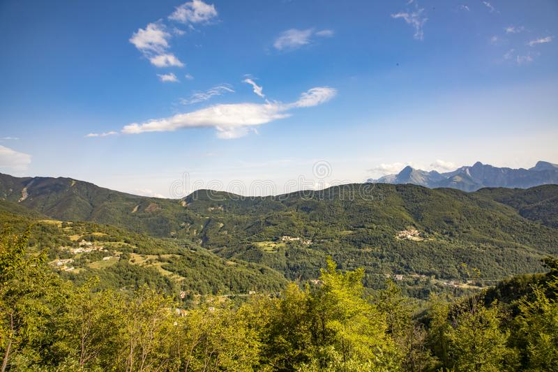 Monti Sagro panorama. They are the fourth highest mountain massif in the continental Apennines after Gran Sasso, Maiella and. Velino-Sirente in the Umbria stock photography