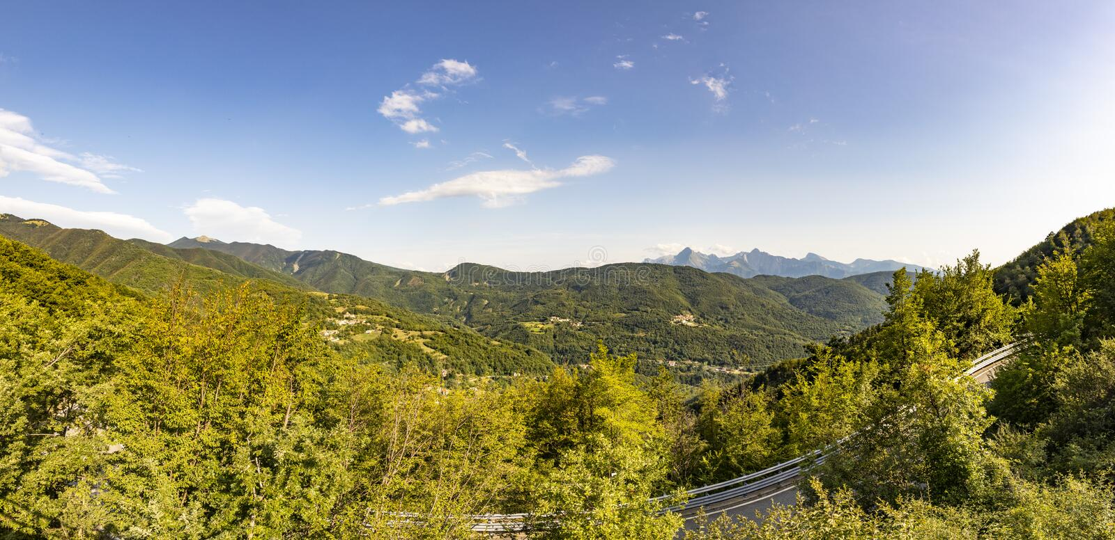 Monti Sagro panorama. They are the fourth highest mountain massif in the continental Apennines after Gran Sasso, Maiella and. Velino-Sirente in the Umbria royalty free stock photo