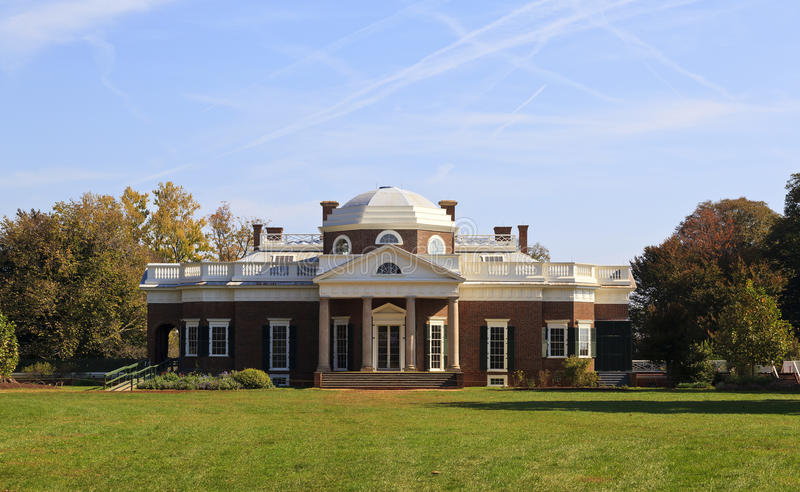 Monticello. Thomas Jefferson`s home in Virginia, from the West Lawn, built 1772 stock images