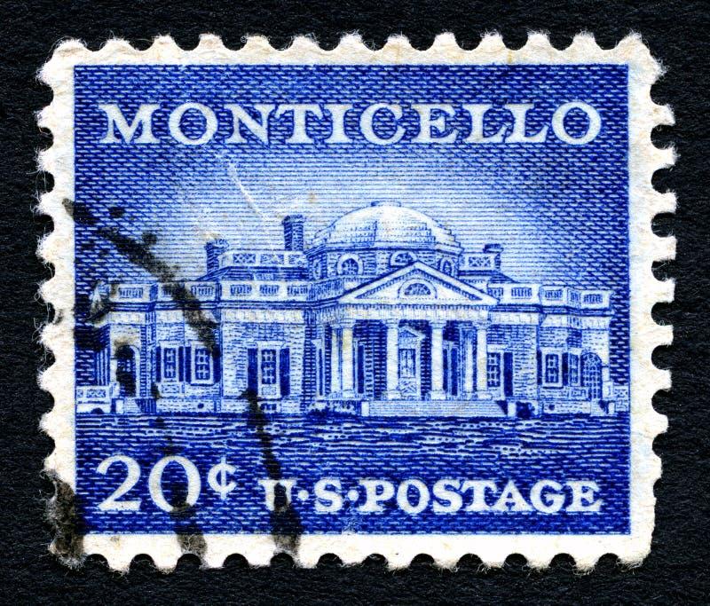 Monticello USA portostämpel royaltyfria foton