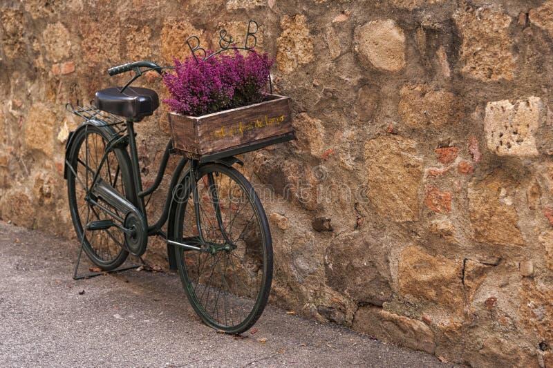 Montichiello - Italien, Oktober 29, 2016: En härlig cykel med blommor i en tyst gata i Montichiello, Tuscany royaltyfria bilder