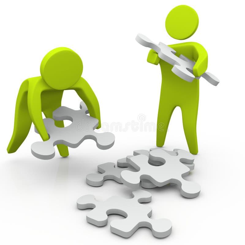 Montieren der Stücke des Puzzlespiels stock abbildung