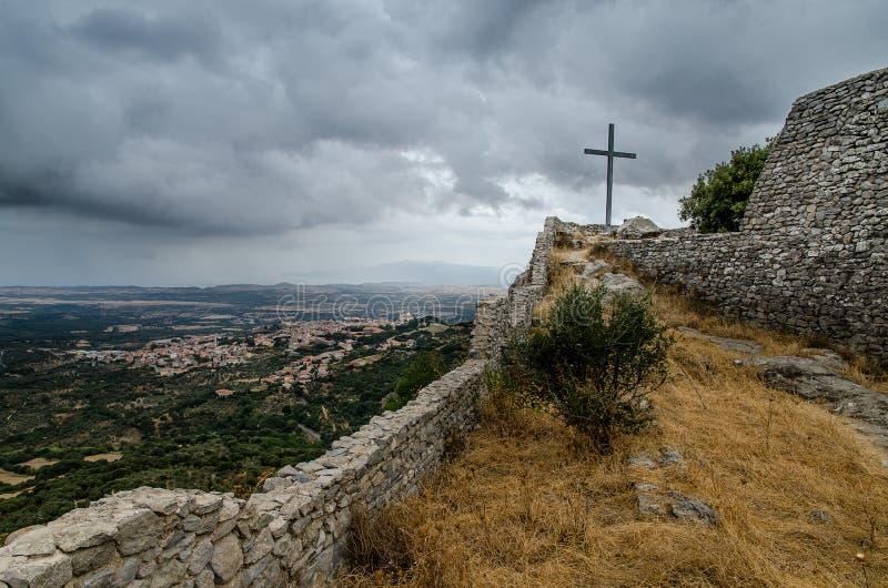 Montiferrukasteel, Cuglieri, Sardinige royalty-vrije stock foto