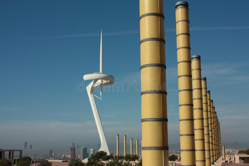 Montjuïc tower and lighting columns royalty free stock images