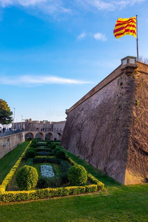Montjuic城堡在巴塞罗那,卡塔龙尼亚,西班牙 库存照片