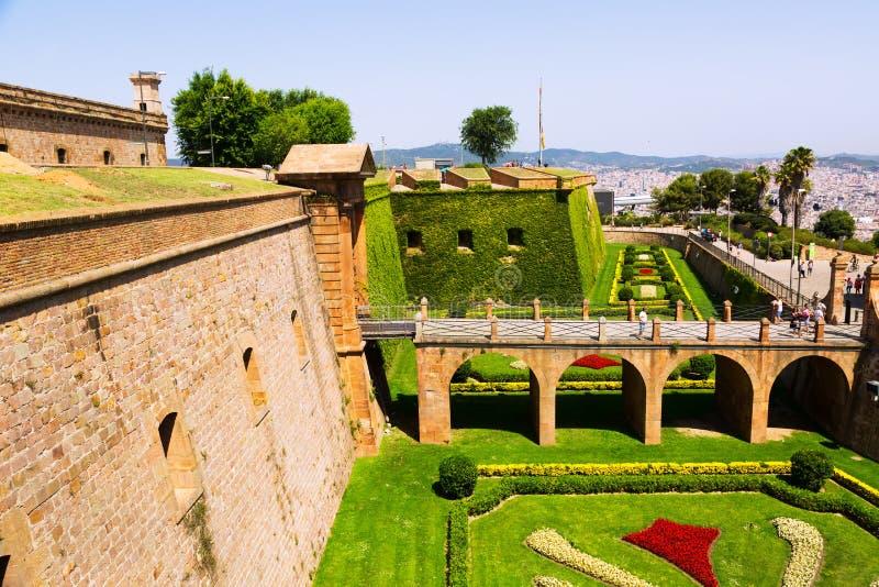 Montjuic城堡在巴塞罗那 免版税库存照片