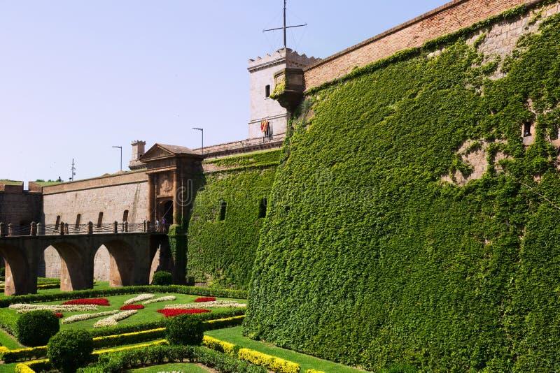 Montjuic城堡在巴塞罗那 库存照片