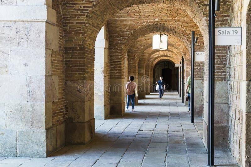 Montjuic城堡的堡垒画廊,巴塞罗那 免版税库存照片