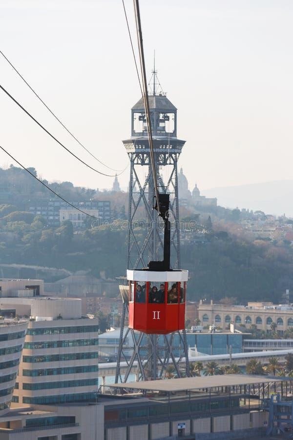 Montjuic缆车,巴塞罗那 免版税库存照片