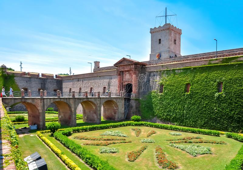 Montjuic,巴塞罗那,西班牙堡垒  免版税库存照片
