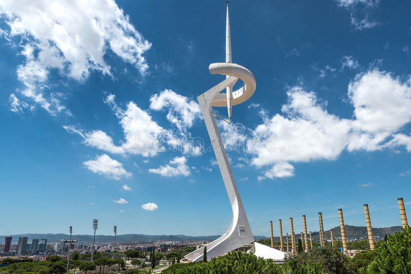 Montjuic Communications Tower, Barcelona, Spain. BARCELONA, SPAIN - JULY 29, 2013: The Montjuic Communications Tower is a telecommunication tower in the Montjuic royalty free stock photography
