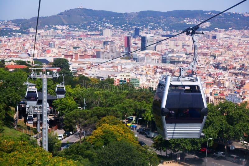 Montjuic-Drahtseilbahn in Barcelona lizenzfreie stockbilder