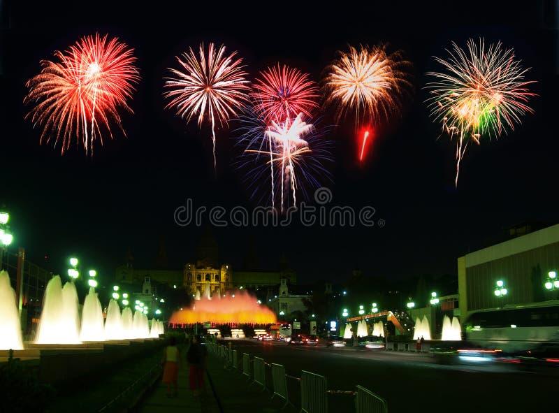 Download The Montjuic Fountain In Barcelona Stock Illustration - Illustration: 5862009