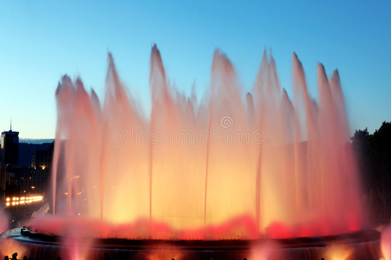 Montjuic Fountain In Barcelona, Spain Royalty Free Stock Image